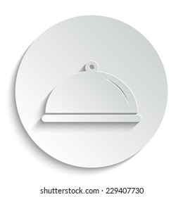 Food platter serving sign - vector icon with shadow on a round button