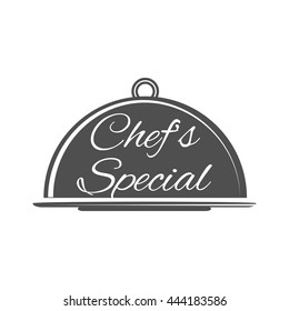 Food platter serving vector icon. Chef's Special. Restaurant menu. Waiter hands with cloche lid vector illustration. Hand holding or carrying empty silver serving platter.