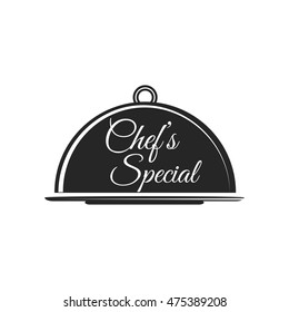 Food platter serving vector icon. Chef s Special. Restaurant menu. Waiter hands with cloche lid vector illustration.