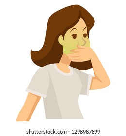 Food poisoning or pregnancy woman feeling sick vector isolated female character pale or green face ill or pregnant girl vomit morning sickness stomach disorder or dysfunction medicine and healthcare.