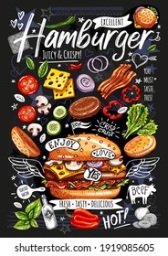 Food poster, ad, fast food, ingredients, menu, burger. Sliced veggies, bun, cutlet, cheese, meat, bacon. Yummy cartoon style isolated. Hand drew vector