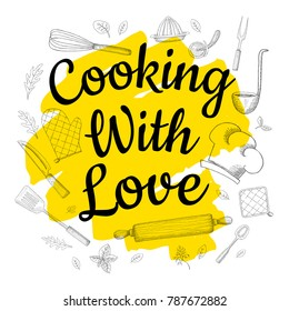 Food Poster Print Lettering. Cooking with love. Lettering kitchen cafe restaurant decoration. Cutting board, knife, fork, kitchen, chalk, board, cooking. Hand drawn vector illustration.
