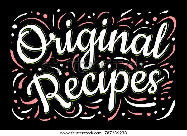 Food Poster Print Lettering Original Recipes Stock Vector