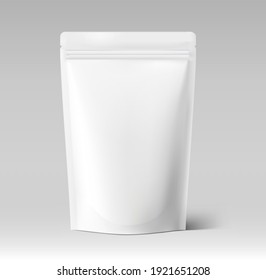 Food pouch bag with wide top. Vector illustration. Front view. Can be use for template your design, presentation, promo, ad. EPS10.