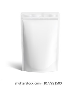 Food pouch bags isolated on white background. Vector illustration. Front view. Can be use for template your design, presentation, promo, ad. EPS10.