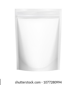 Food pouch bags with zipper isolated on white background. Vector illustration. Front view. Can be use for template your design, presentation, promo, ad. EPS10.