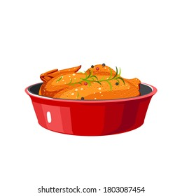 Food preparation. Fried whole chicken in red round baking pan. Kitchen utensil. Vector illustration cartoon flat icon isolated on white background.