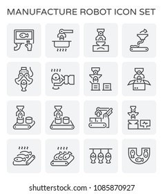 Food processing and fish icon set.