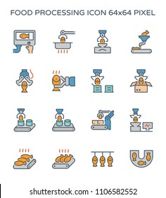 Food processing icon set, 64x64 pixel perfect and editable stroke.