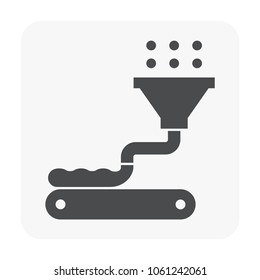 Food processing industry and production line icon.