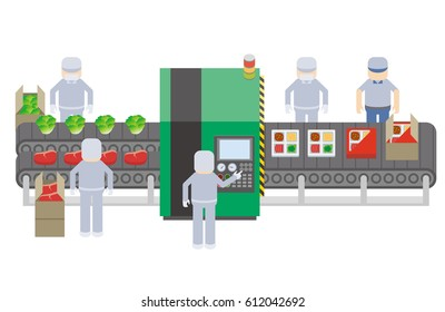 food processing plant concept, frozen food factory