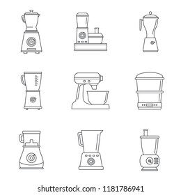 Food processor blender icon set. Outline set of food processor blender vector icons for web design isolated on white background