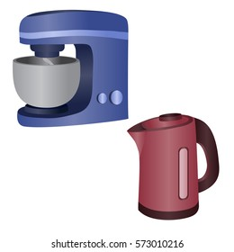 food processor and electrical kettle. Vector