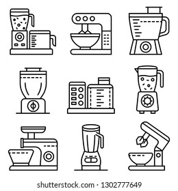 Food processor icons set. Outline set of food processor vector icons for web design isolated on white background
