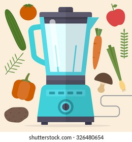 Food processor, mixer, blender and vegetables. Carrot, peppers, onions, potatoes, apples, tomatoes. Flat style vector illustration.