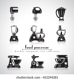Food processors, blenders and meat grinders vector flat icon of kitchen appliance. Household equipment set of machines, black silhouette, detailed shape.