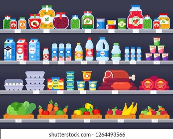Food products on shop shelf. Supermarket shopping shelves, food store showcase and choice packed meal products sale. Grocery market variety product shelf vector illustration