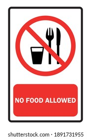 Food prohibition sign Red background text input vector illustration