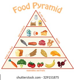Food Pyramid Chart info graphics, illustration, vector
