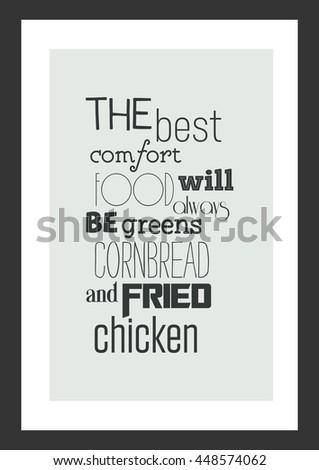 Food Quote Vector Typography Best Comfort Stock Vector Royalty Free