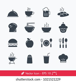 Food Related Icons / Vectors Set (Breakfast, Lunch, Dinner)