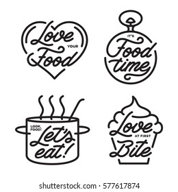 Food related typography set. Food quotes. Lets eat. Love at first bite. It is food time. Hand drawn lettering. Kitchen wall art set. Vector vintage illustration.