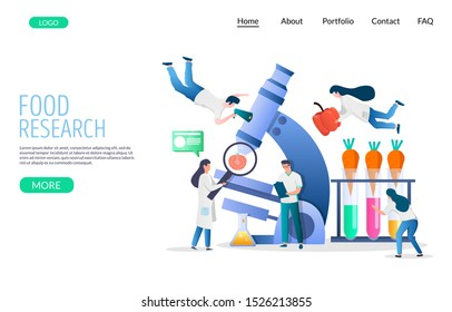 Food research vector website template, web page and landing page design for website and mobile site development. Lab attendants dieticians testing food products in laboratory.