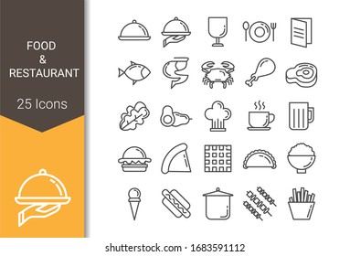 Food and restaurant icon set for web and apps development
