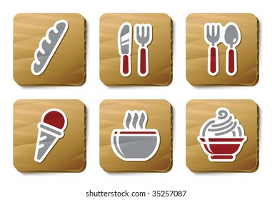 Food and Restaurant icons. Vector icon set. Three color icons on cardboard tags.