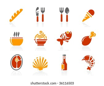 Food and Restaurant icons. Vector icon set. Three color icons.