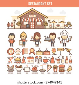 food and restaurant infographic elements for kid including character and icon