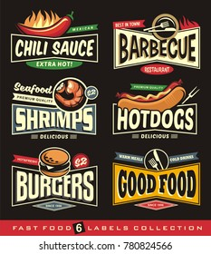 Food restaurant labels and stickers collection on black background. Chili, barbecue, shrimps, hot dogs, burgers and food signs, logo designs and banners. Diner promotional graphics.