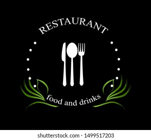 Food And Restaurant Logo - Isolated On Black Background. Vector Illustration For Cook, Kitchen, Bar, Spoon, Fork And Knife Logo. Restaurant And Food Logo For Bistro, Cook Element, Sticker And Label