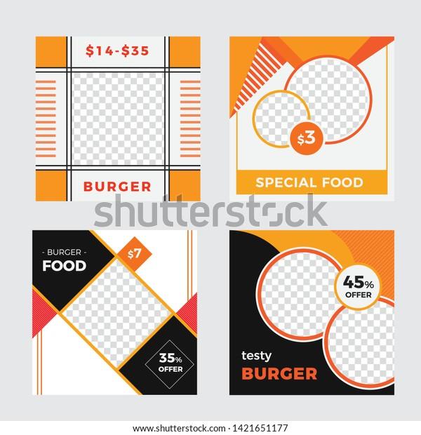 Food Restaurant Social Media Post Web Stock Vector Royalty Free 1421651177