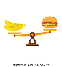 Food rules, fruit and fast food on the scales. Diet, banana and hamburger on scales. The balance of healthy and not healthy food on the scales.