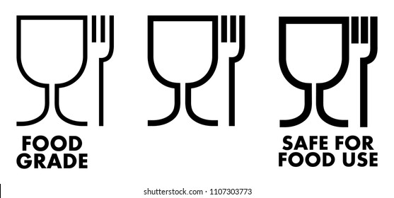 Food safe material sign. Wine glass and fork symbol meaning plastics is safe.