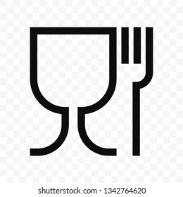 Food safe material wine glass and fork symbol. Food grade vector icon