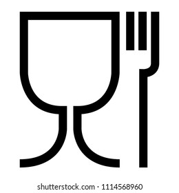 Food safe symbol. The international icon for food safe material are a wine glass and a fork symbol. Large version .