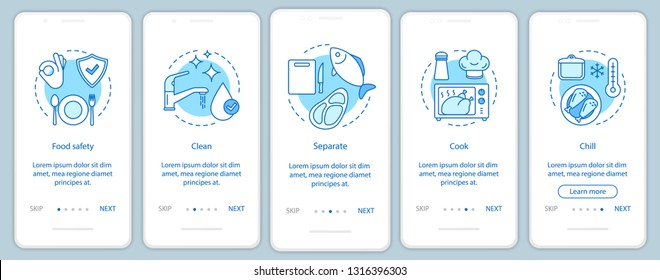 Food safety, hygiene onboarding mobile app page screen template. Food processing, handling, storage. Clean, separate, cook, chill. Walkthrough website steps. UX, UI, GUI smartphone interface concept
