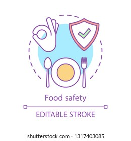 Food safety and quality concept icon. Healthy nutrition, eating, dieting idea thin line illustration. Food hazards. Safe meal preparation. Vector isolated outline drawing. Editable stroke