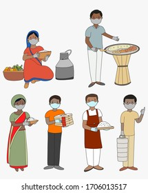 Food Safety set in India. Local vendor of Indian food. Family cooking. People wearing mask for food protection Covid-19. Delivery man of Indian food. Indian chef.