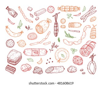 Food. Sausages set. Hand drawn doodle Meat products: Ready sausage, bacon, sliced saveloy, sausage, spicy pepperoni, smoked sausages, stick of salami, baked meatloaf, frankfurters