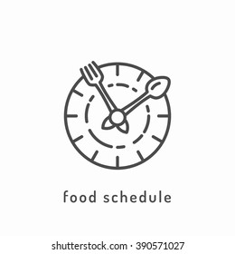 Food schedule icon. Healthy diet icon, rational nutrition, slimming loss weight, healthy lifestyle, balanced eating, organic vegetarian food