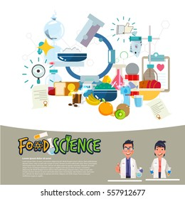food science concept. food laboratory. typographic. scientist character design- vector illustration