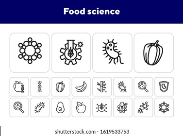 Food science line icon set. DNA molecule, bacteria, fruit, test tube. Food industry concept. Can be used for topics like genetics, lab research, biotechnology
