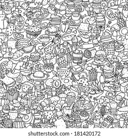Food seamless pattern in black and white (repeated) with mini doodle drawings (icons). Illustration is in eps8 vector mode.