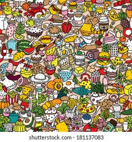 Food seamless pattern (repeated) with mini doodle drawings (icons). Illustration is in eps8 vector mode.