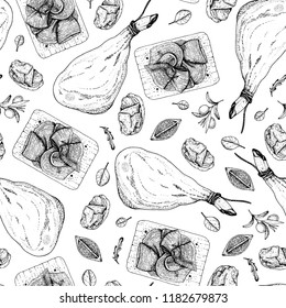 Food seamless pattern. Spanish jamon hand drawn sketch. Engraved illustration. Slices of jamon illustration.