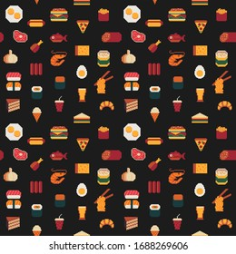 Food seamless pixel art pattern, fabric textures, isolated vector illustration. Fast food, seafood, meat, rolls and sushi. Design for stickers, logo, mobile app. Game assets 80s 8-bit sprite sheet.