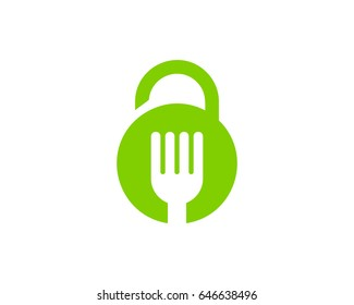 Food Security Lock Icon Logo Design Element